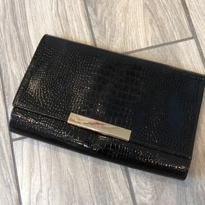 Black Snakeskin Clutch - Banana Republic